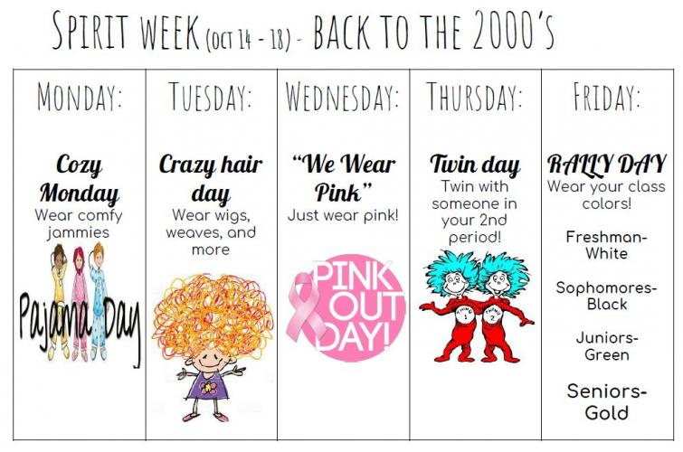 Spirit Week - October 14-18 - Back to the 2000's - John F. Kennedy High School